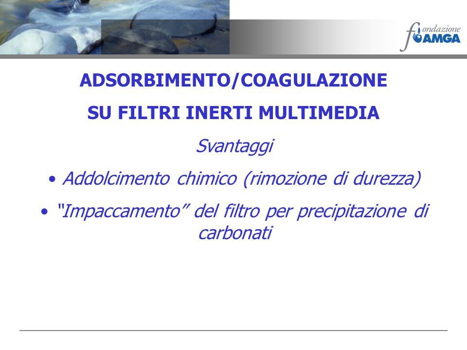 ADSORBIMENTO/COAGULAZIONE SU FILTRI INERTI MULTIMEDIA Svantaggi Addolcimento chimico (rimozione di durezza) Impaccamento del filtro per precipitazione