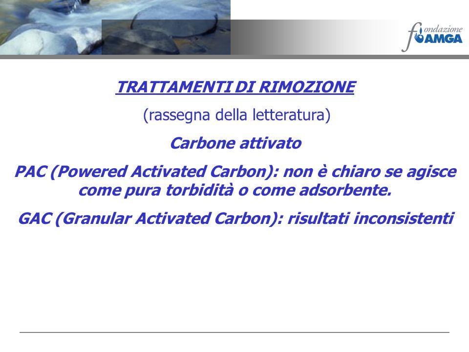 TRATTAMENTI DI RIMOZIONE (rassegna della letteratura) Carbone attivato PAC (Powered Activated Carbon): non è chiaro se agisce come pura torbidità o co