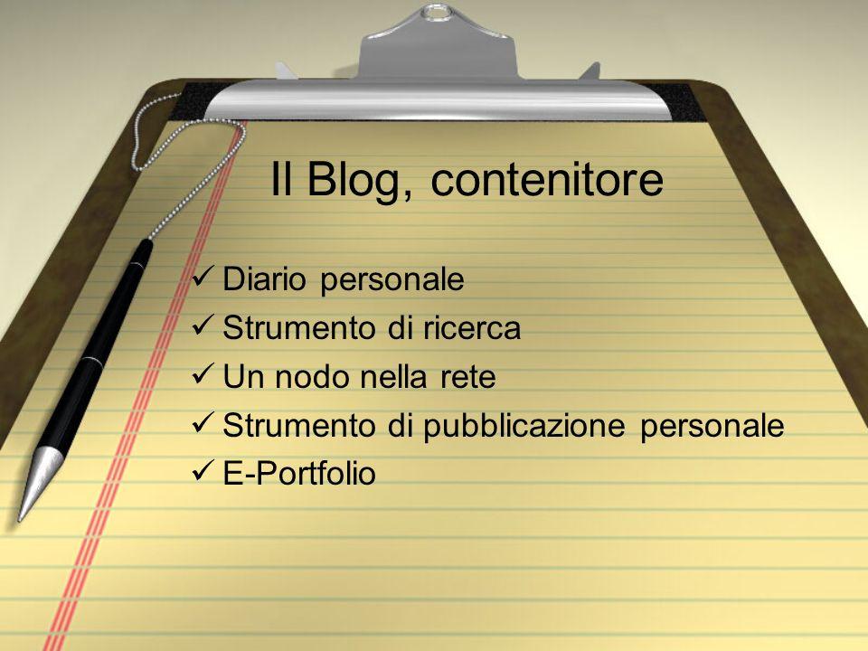 Il Blog, contenitore Diario personale Strumento di ricerca Un nodo nella rete Strumento di pubblicazione personale E-Portfolio