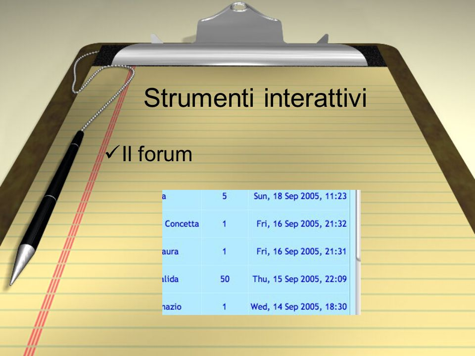Strumenti interattivi Il forum