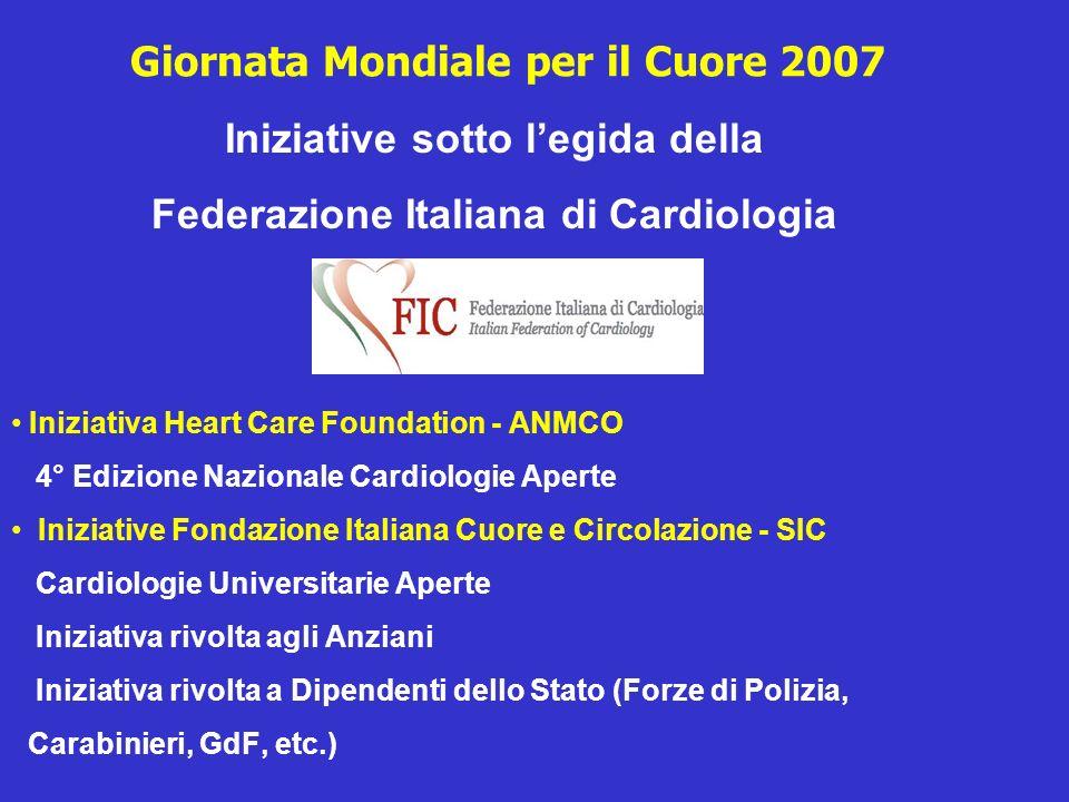 Giornata Mondiale per il Cuore 2007 Iniziative sotto legida della Federazione Italiana di Cardiologia Iniziativa Heart Care Foundation - ANMCO 4° Ediz
