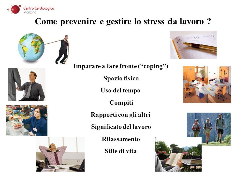 Imparare a fare fronte (coping) Spazio fisico Uso del tempo Compiti Rilassamento Significato del lavoro Rapporti con gli altri Stile di vita Come prev