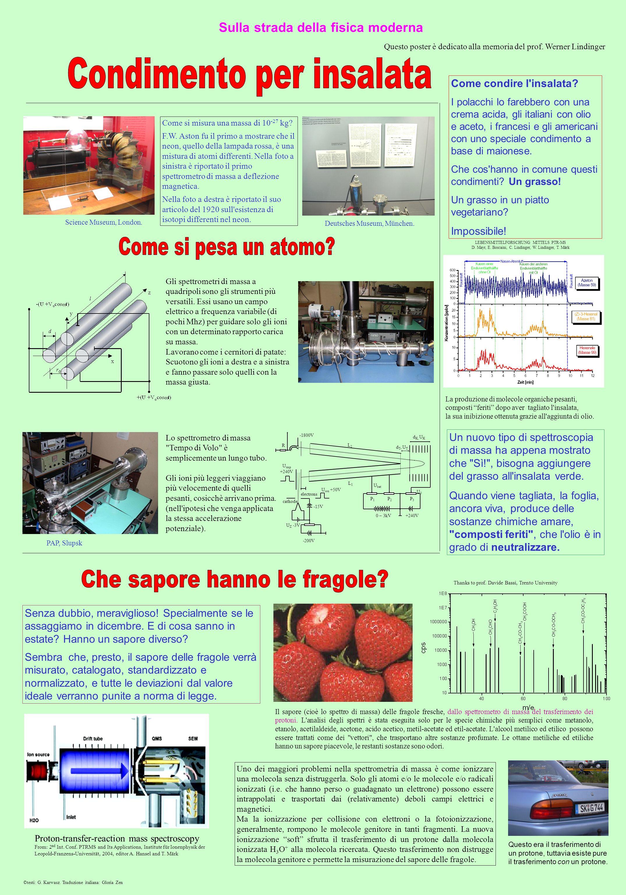 Sulla strada della fisica moderna Il sapore (cioè lo spettro di massa) delle fragole fresche, dallo spettrometro di massa del trasferimento dei protoni.