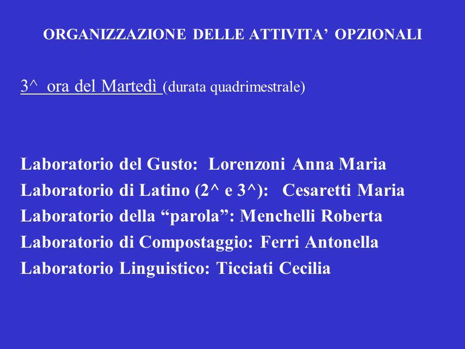 ORGANIZZAZIONE DELLE ATTIVITA OPZIONALI 3^ ora del Martedì (durata quadrimestrale) Laboratorio del Gusto: Lorenzoni Anna Maria Laboratorio di Latino (