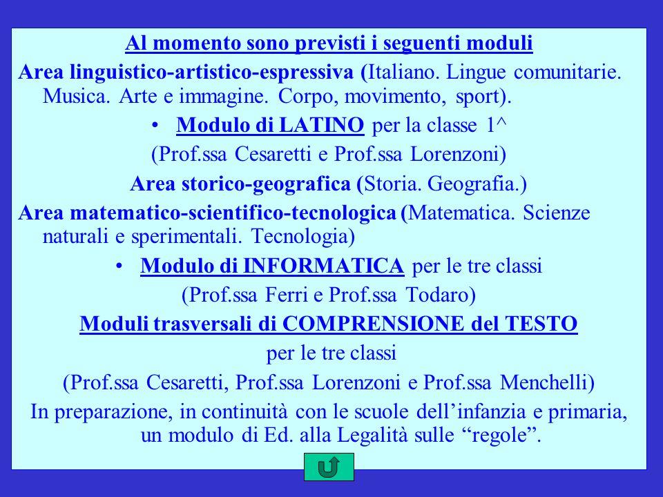 Al momento sono previsti i seguenti moduli Area linguistico-artistico-espressiva (Italiano. Lingue comunitarie. Musica. Arte e immagine. Corpo, movime
