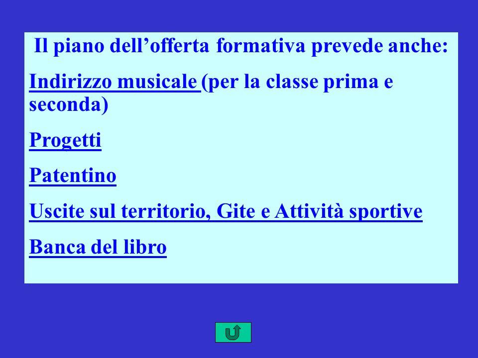 Il piano dellofferta formativa prevede anche: Indirizzo musicale Indirizzo musicale (per la classe prima e seconda) Progetti Patentino Uscite sul terr