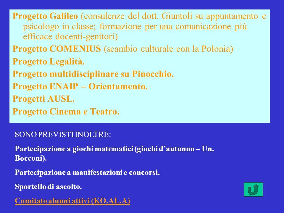 Progetto Galileo (consulenze del dott. Giuntoli su appuntamento e psicologo in classe; formazione per una comunicazione più efficace docenti-genitori)