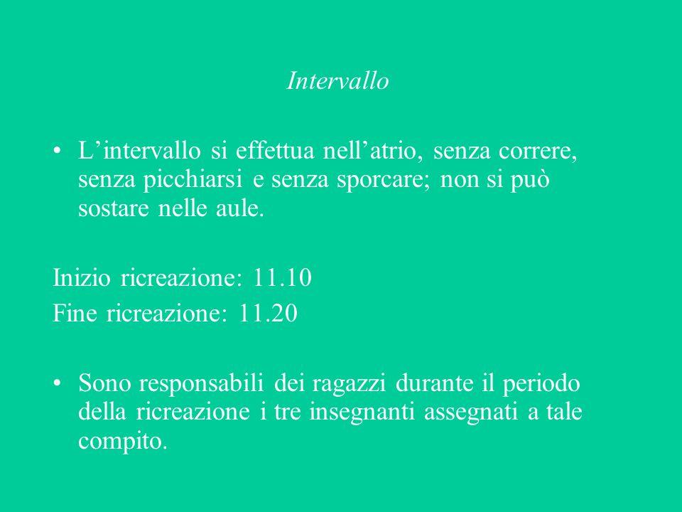 Intervallo Lintervallo si effettua nellatrio, senza correre, senza picchiarsi e senza sporcare; non si può sostare nelle aule. Inizio ricreazione: 11.