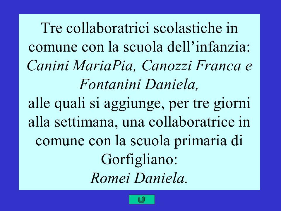 Tre collaboratrici scolastiche in comune con la scuola dellinfanzia: Canini MariaPia, Canozzi Franca e Fontanini Daniela, alle quali si aggiunge, per