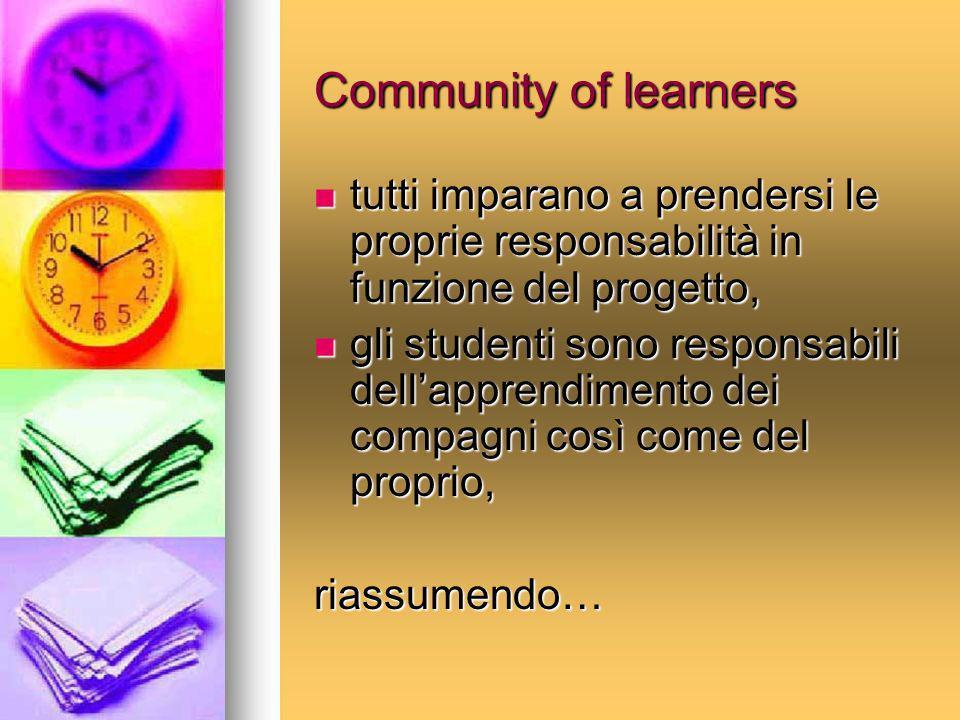 Community of learners tutti imparano a prendersi le proprie responsabilità in funzione del progetto, tutti imparano a prendersi le proprie responsabil