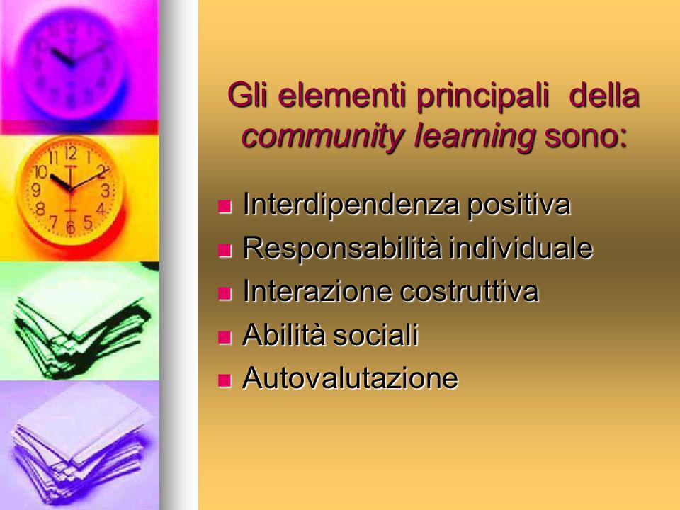 Gli elementi principali della community learning sono: Interdipendenza positiva Interdipendenza positiva Responsabilità individuale Responsabilità ind