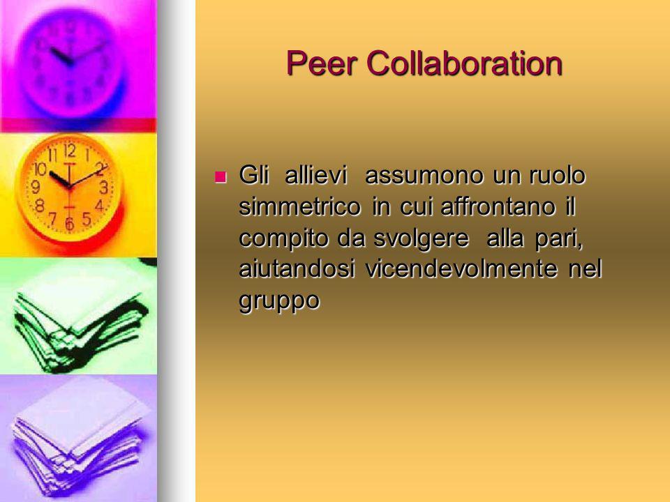 Peer Collaboration Gli allievi assumono un ruolo simmetrico in cui affrontano il compito da svolgere alla pari, aiutandosi vicendevolmente nel gruppo