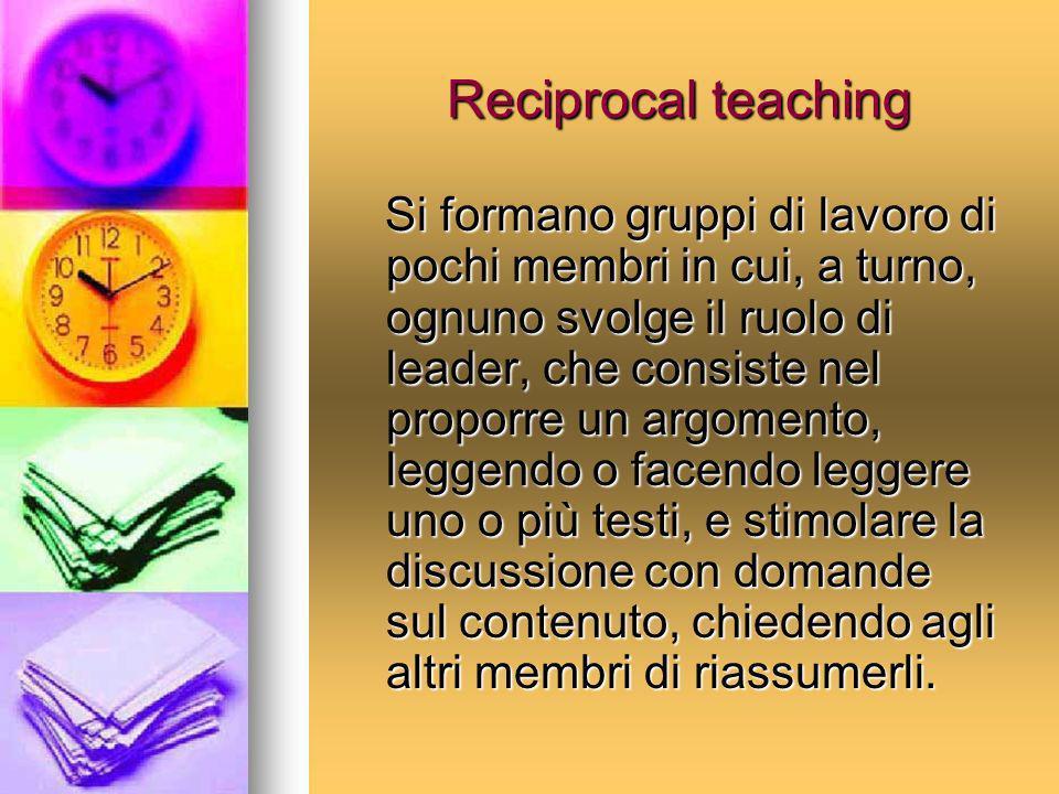 Reciprocal teaching Si formano gruppi di lavoro di pochi membri in cui, a turno, ognuno svolge il ruolo di leader, che consiste nel proporre un argome
