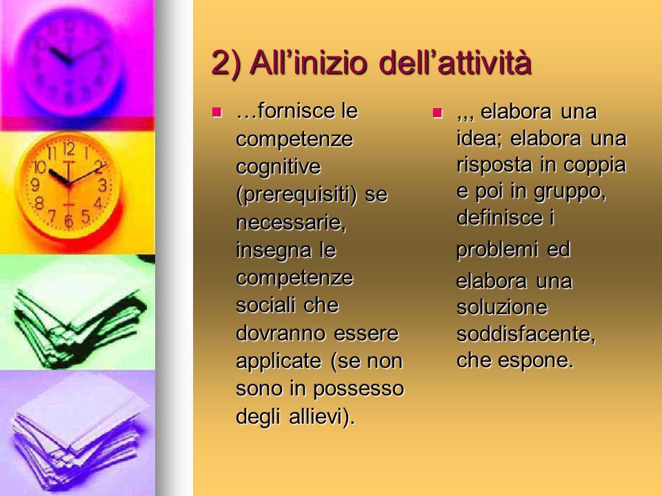 2) Allinizio dellattività …fornisce le competenze cognitive (prerequisiti) se necessarie, insegna le competenze sociali che dovranno essere applicate