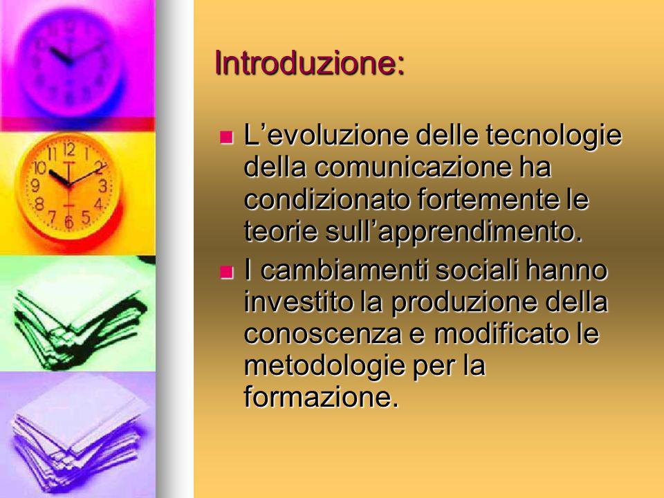 Introduzione: Levoluzione delle tecnologie della comunicazione ha condizionato fortemente le teorie sullapprendimento. Levoluzione delle tecnologie de