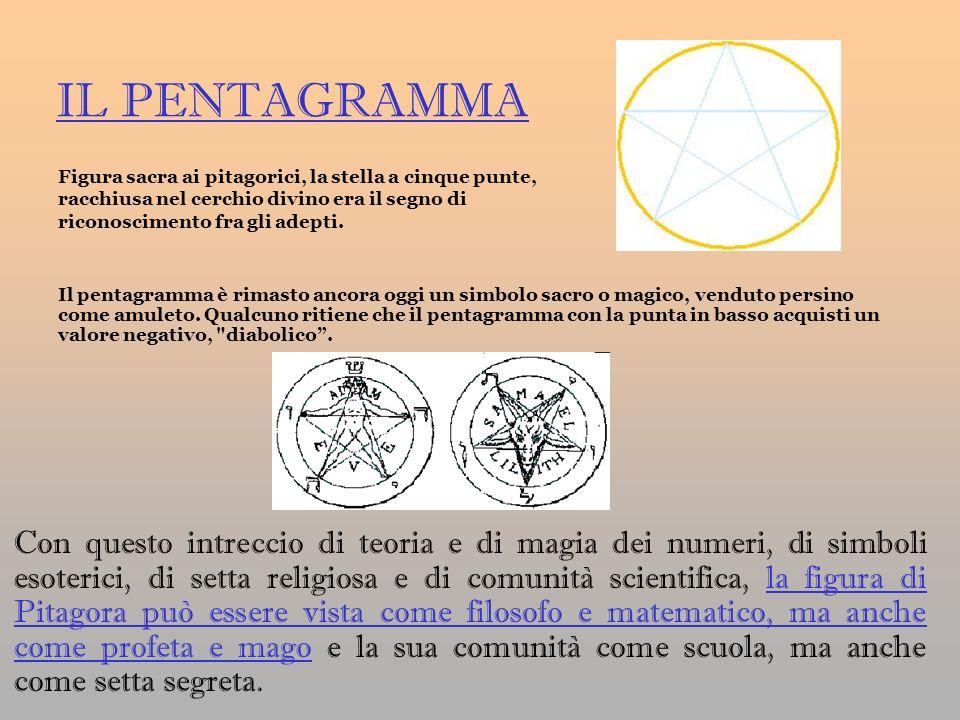 IL PENTAGRAMMA Con questo intreccio di teoria e di magia dei numeri, di simboli esoterici, di setta religiosa e di comunità scientifica, la figura di