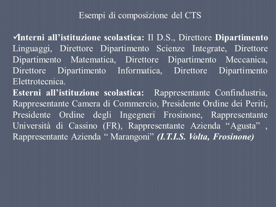 Esempi di composizione del CTS Interni allistituzione scolastica: Il D.S., Direttore Dipartimento Linguaggi, Direttore Dipartimento Scienze Integrate,