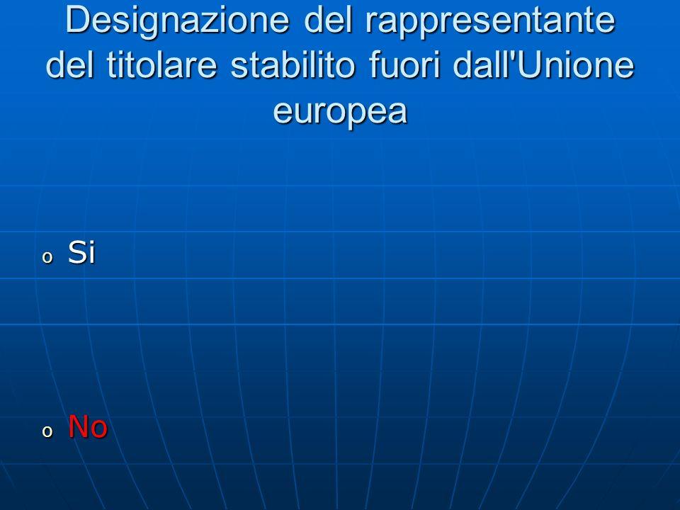 Designazione del rappresentante del titolare stabilito fuori dall Unione europea o Si o No