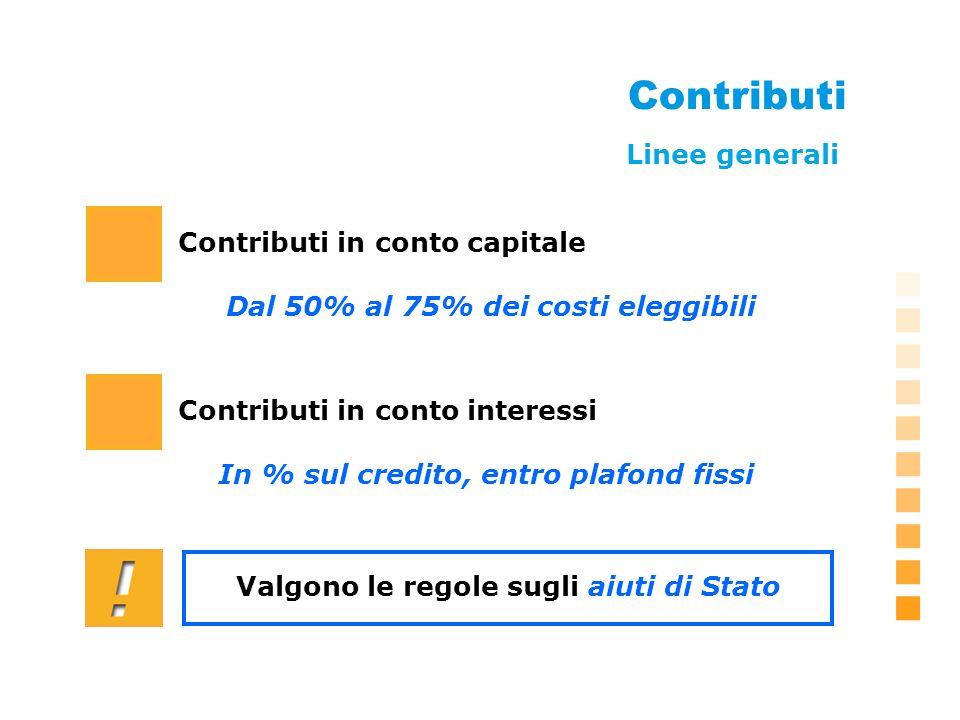 Contributi Contributi in conto capitale Dal 50% al 75% dei costi eleggibili Contributi in conto interessi Linee generali In % sul credito, entro plafond fissi Valgono le regole sugli aiuti di Stato