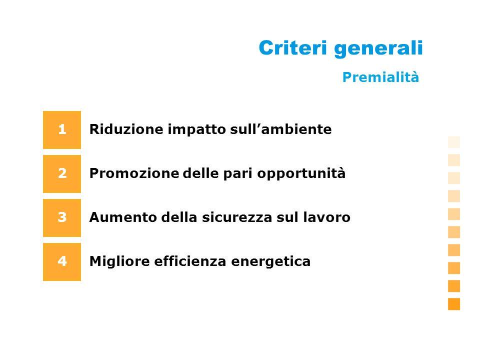 Criteri generali Riduzione impatto sullambiente Promozione delle pari opportunità 1 2 3 4 Aumento della sicurezza sul lavoro Migliore efficienza energetica Premialità