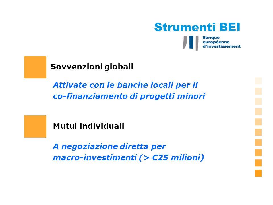 Strumenti BEI Sovvenzioni globali A negoziazione diretta per macro-investimenti (> 25 milioni) Attivate con le banche locali per il co-finanziamento di progetti minori Mutui individuali