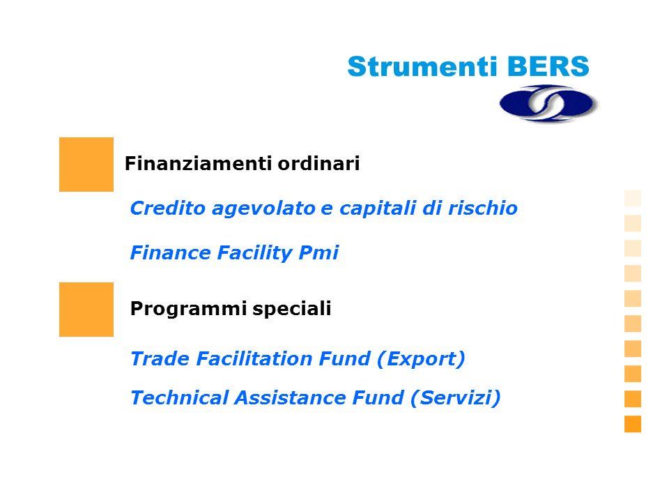 Strumenti BERS Finanziamenti ordinari Finance Facility Pmi Trade Facilitation Fund (Export) Credito agevolato e capitali di rischio Programmi speciali Technical Assistance Fund (Servizi)