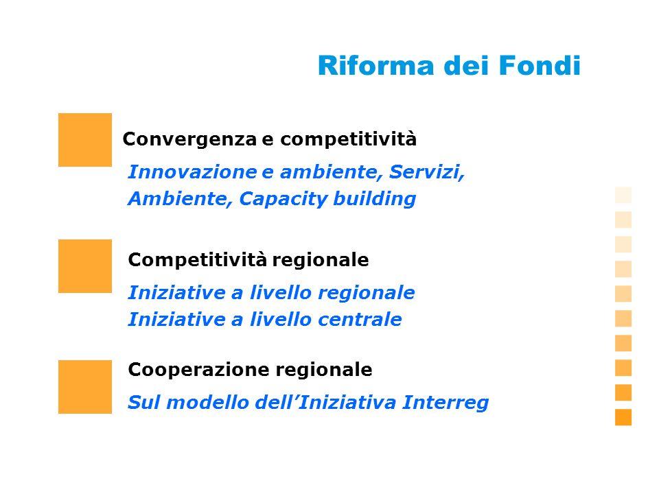 Riforma dei Fondi Convergenza e competitività Sul modello dellIniziativa Interreg Innovazione e ambiente, Servizi, Ambiente, Capacity building Cooperazione regionale Iniziative a livello regionale Iniziative a livello centrale Competitività regionale