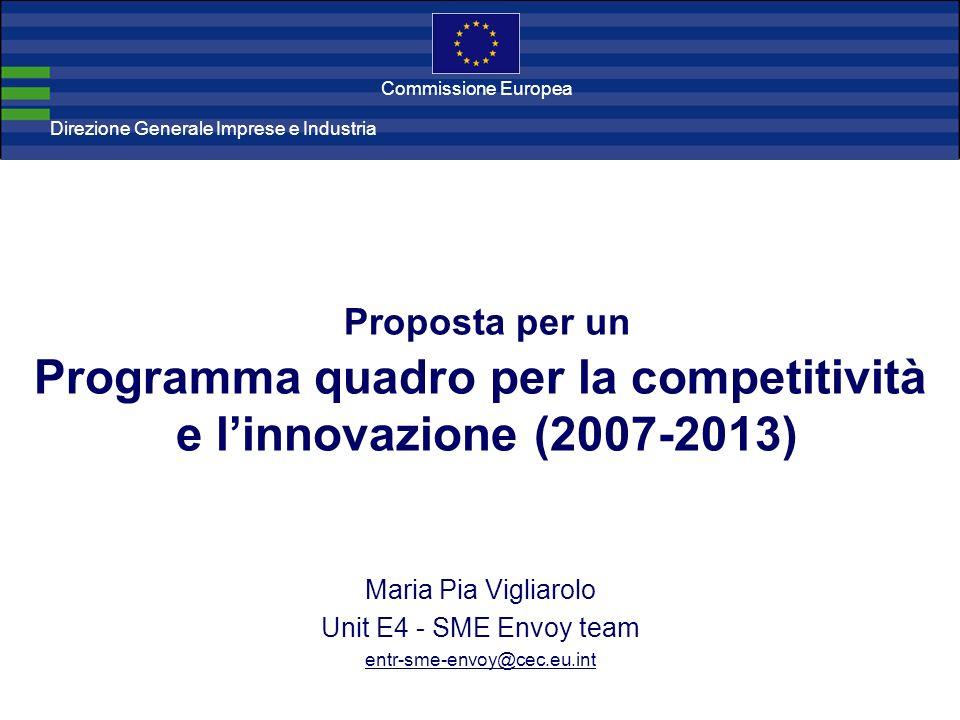 Direzione Generale Imprese Direzione Generale Imprese e Industria Commissione Europea Proposta per un Programma quadro per la competitività e linnovazione (2007-2013) Maria Pia Vigliarolo Unit E4 - SME Envoy team entr-sme-envoy@cec.eu.int