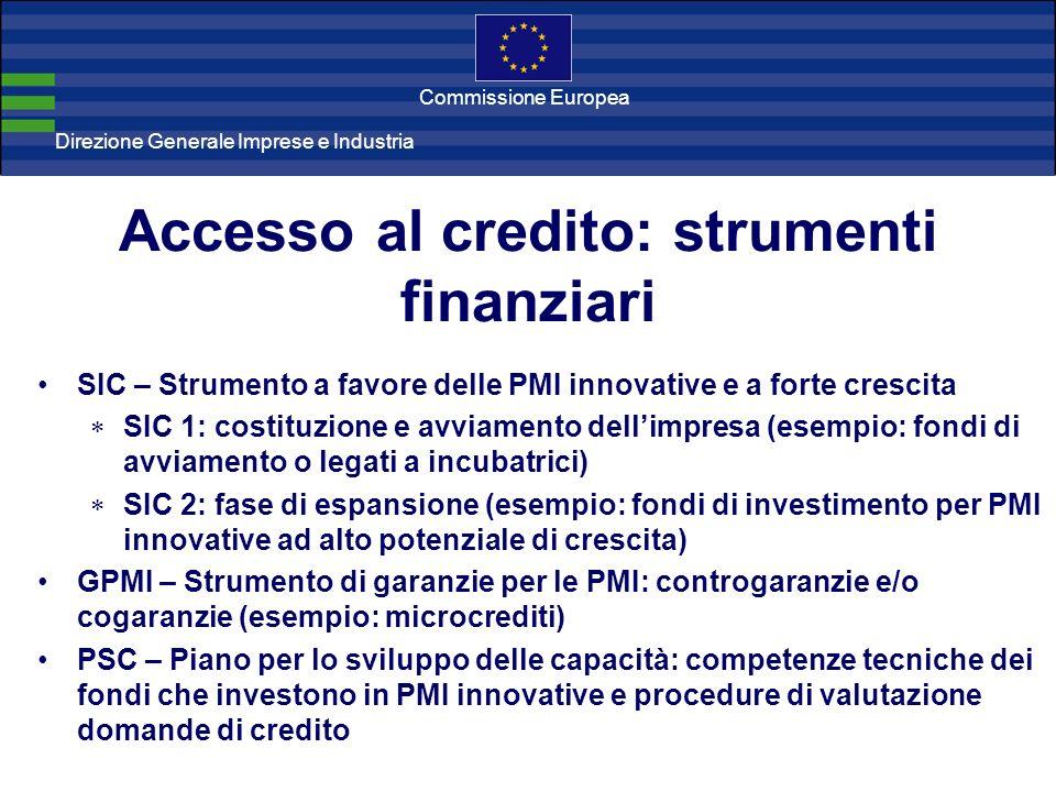 Direzione Generale Imprese Direzione Generale Imprese e Industria Commissione Europea Accesso al credito: strumenti finanziari SIC – Strumento a favor