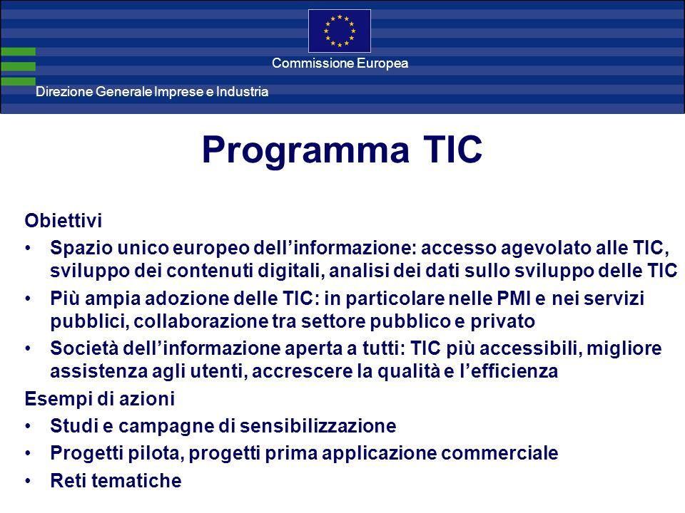 Direzione Generale Imprese Direzione Generale Imprese e Industria Commissione Europea Programma TIC Obiettivi Spazio unico europeo dellinformazione: a