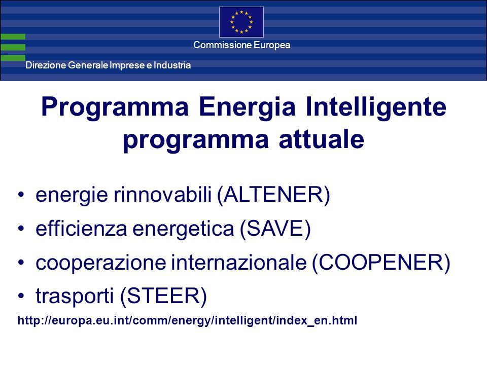 Direzione Generale Imprese Direzione Generale Imprese e Industria Commissione Europea Programma Energia Intelligente programma attuale energie rinnova