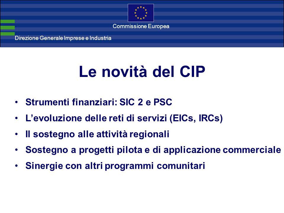 Direzione Generale Imprese Direzione Generale Imprese e Industria Commissione Europea Le novità del CIP Strumenti finanziari: SIC 2 e PSC Levoluzione