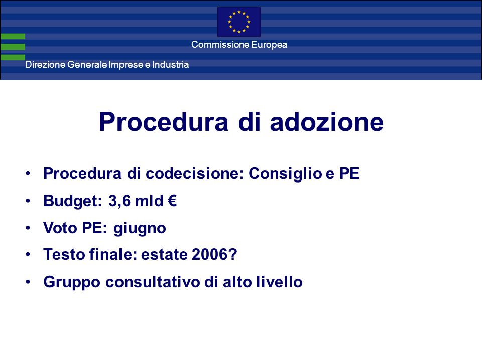 Direzione Generale Imprese Direzione Generale Imprese e Industria Commissione Europea Procedura di adozione Procedura di codecisione: Consiglio e PE Budget: 3,6 mld Voto PE: giugno Testo finale: estate 2006.