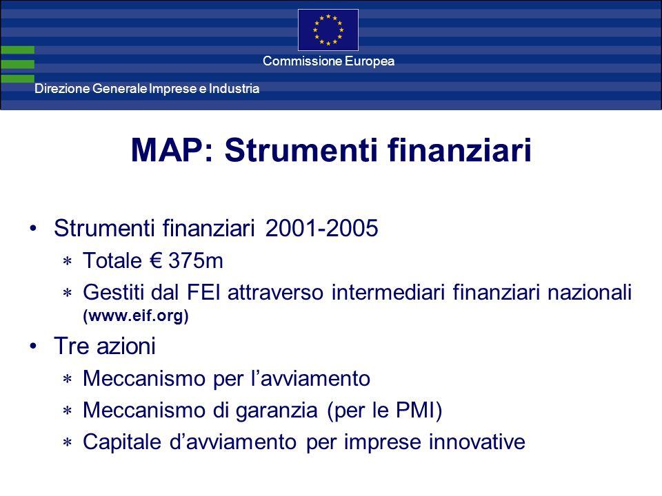Direzione Generale Imprese Direzione Generale Imprese e Industria Commissione Europea MAP: Strumenti finanziari Strumenti finanziari 2001-2005 Totale
