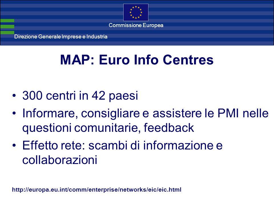 Direzione Generale Imprese Direzione Generale Imprese e Industria Commissione Europea MAP: Euro Info Centres 300 centri in 42 paesi Informare, consigliare e assistere le PMI nelle questioni comunitarie, feedback Effetto rete: scambi di informazione e collaborazioni http://europa.eu.int/comm/enterprise/networks/eic/eic.html