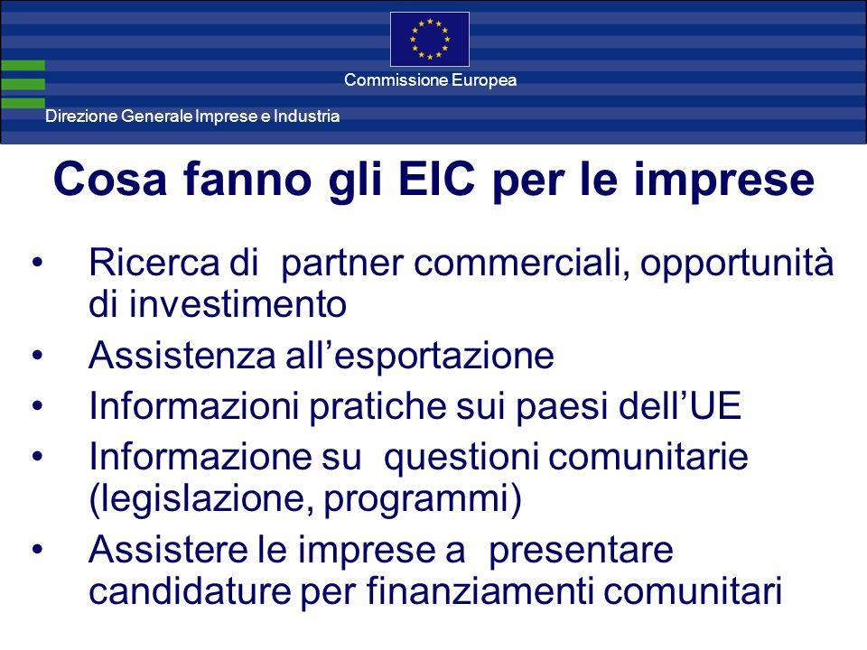 Direzione Generale Imprese Direzione Generale Imprese e Industria Commissione Europea Ricerca di partner commerciali, opportunità di investimento Assistenza allesportazione Informazioni pratiche sui paesi dellUE Informazione su questioni comunitarie (legislazione, programmi) Assistere le imprese a presentare candidature per finanziamenti comunitari Cosa fanno gli EIC per le imprese