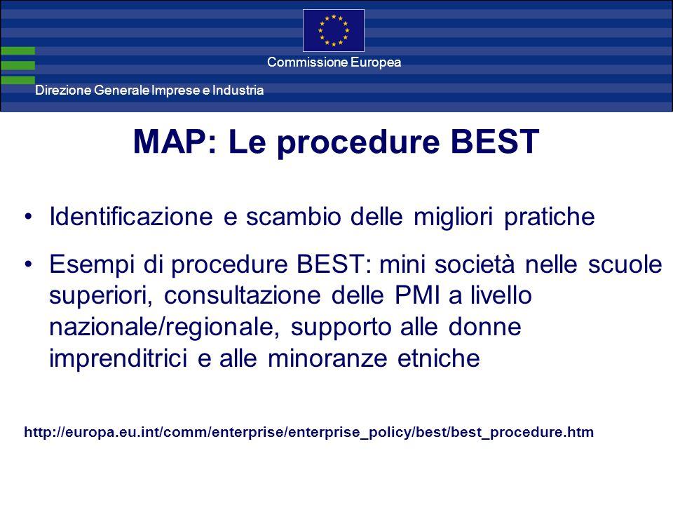 Direzione Generale Imprese Direzione Generale Imprese e Industria Commissione Europea MAP: Le procedure BEST Identificazione e scambio delle migliori