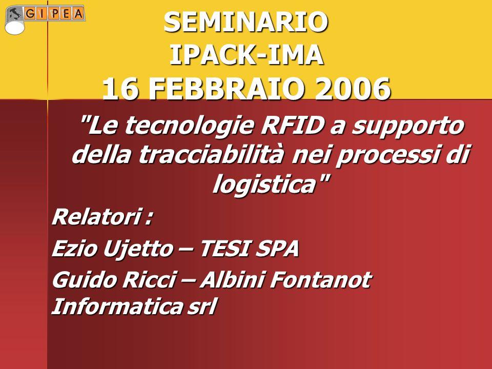 SEMINARIO IPACK-IMA 16 FEBBRAIO 2006 Le tecnologie RFID a supporto della tracciabilità nei processi di logistica Relatori : Ezio Ujetto – TESI SPA Guido Ricci – Albini Fontanot Informatica srl
