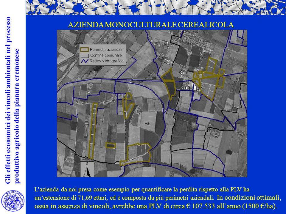Lazienda da noi presa come esempio per quantificare la perdita rispetto alla PLV ha unestensione di 71,69 ettari, ed è composta da più perimetri aziendali.