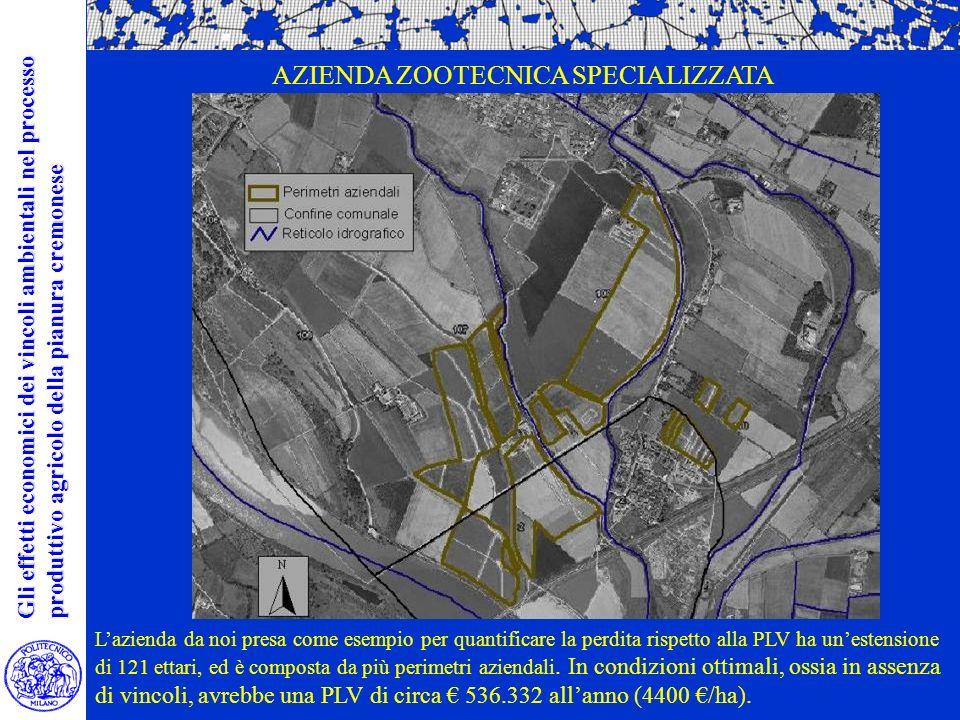 Lazienda da noi presa come esempio per quantificare la perdita rispetto alla PLV ha unestensione di 121 ettari, ed è composta da più perimetri aziendali.
