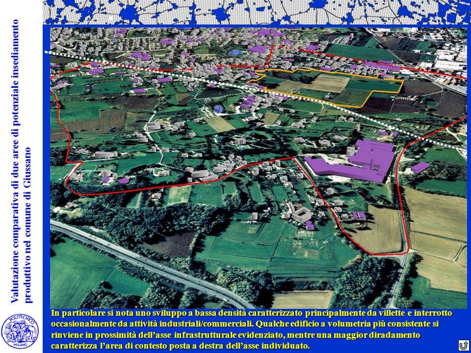 In particolare si nota uno sviluppo a bassa densità caratterizzato principalmente da villette e interrotto occasionalmente da attività industriali/com