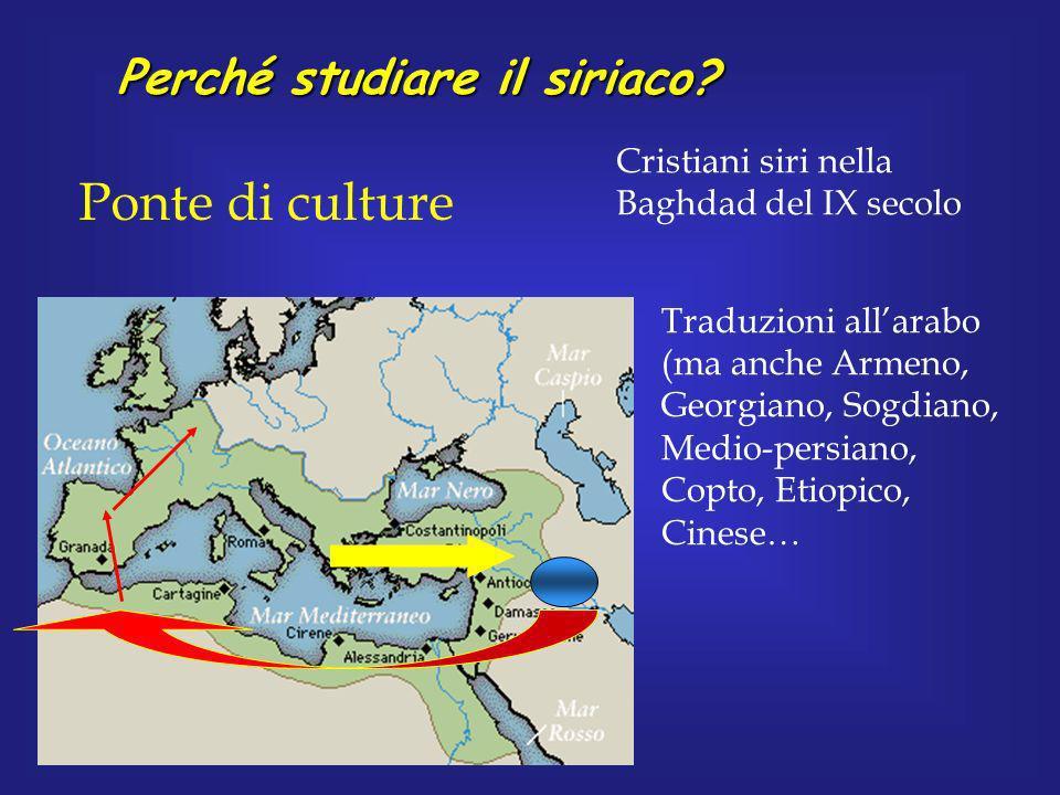 Perché studiare il siriaco? Ponte di culture Cristiani siri nella Baghdad del IX secolo Traduzioni allarabo (ma anche Armeno, Georgiano, Sogdiano, Med