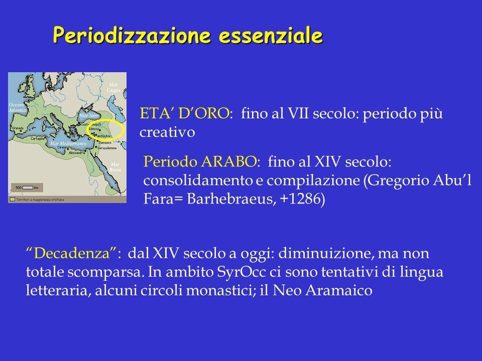 Periodizzazione essenziale ETA DORO: fino al VII secolo: periodo più creativo Periodo ARABO: fino al XIV secolo: consolidamento e compilazione (Gregor