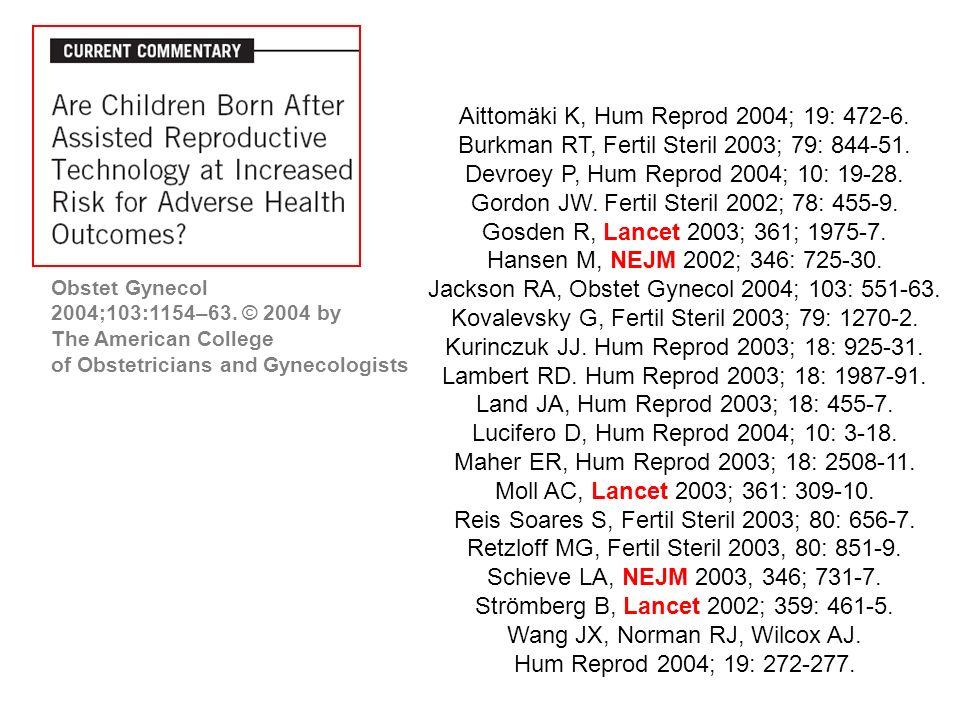 Aittomäki K, Hum Reprod 2004; 19: 472-6. Burkman RT, Fertil Steril 2003; 79: 844-51.