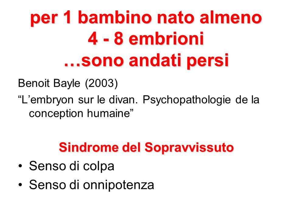 per 1 bambino nato almeno 4 - 8 embrioni …sono andati persi Benoit Bayle (2003) Lembryon sur le divan.