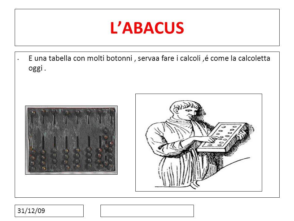 31/12/09 LABACUS E una tabella con molti botonni, servaa fare i calcoli,é come la calcoletta oggi.