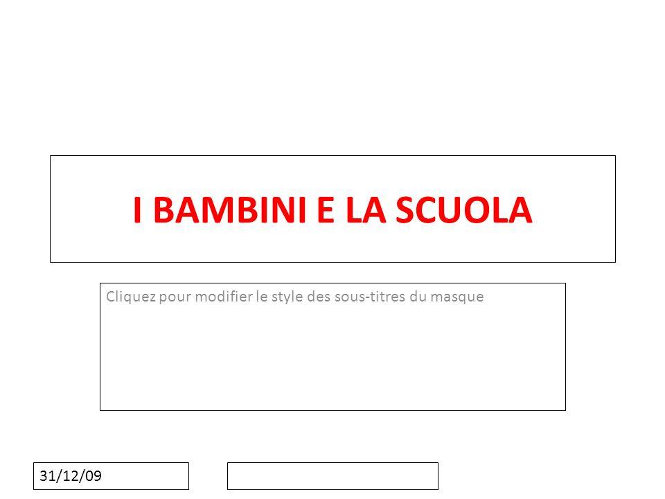 Cliquez pour modifier le style des sous-titres du masque 31/12/09 I BAMBINI E LA SCUOLA