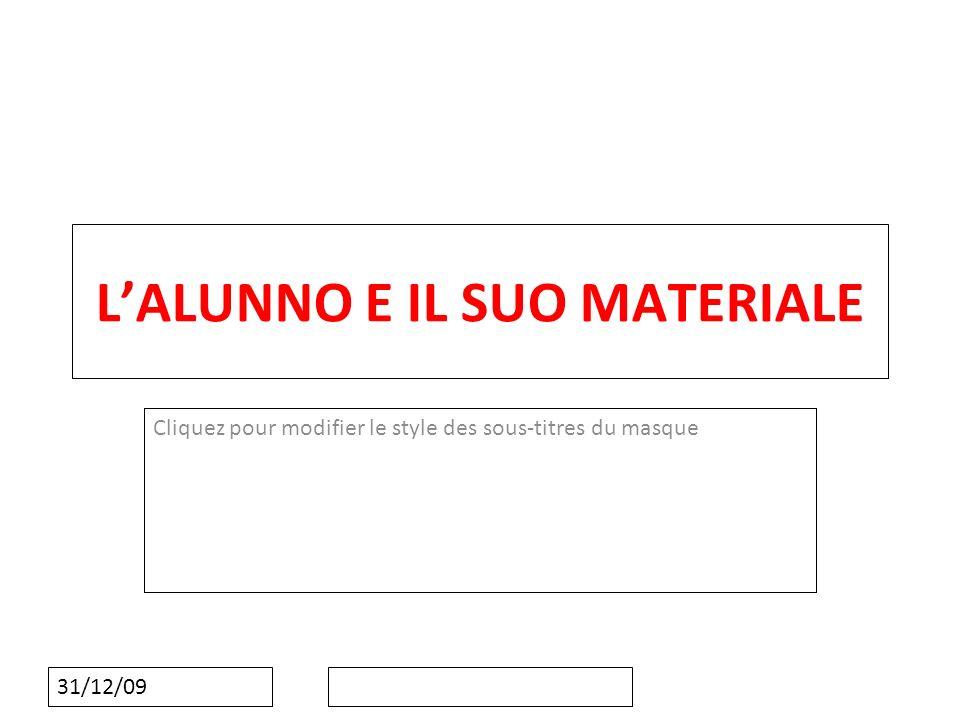Cliquez pour modifier le style des sous-titres du masque 31/12/09 LALUNNO E IL SUO MATERIALE