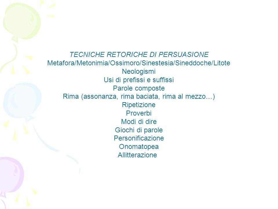 TECNICHE RETORICHE DI PERSUASIONE Metafora/Metonimia/Ossimoro/Sinestesia/Sineddoche/Litote Neologismi Usi di prefissi e suffissi Parole composte Rima