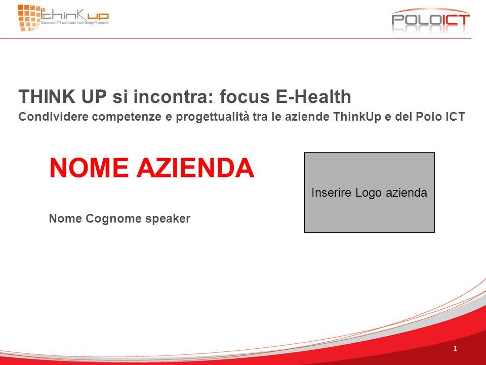 THINK UP si incontra: focus E-Health Condividere competenze e progettualità tra le aziende ThinkUp e del Polo ICT NOME AZIENDA Nome Cognome speaker Inserire Logo azienda 1